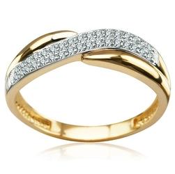 Staviori pierścionek. cyrkonia. żółte, białe złoto 0,333. szerokość obrączki ok. 2,3-5,2 mm.