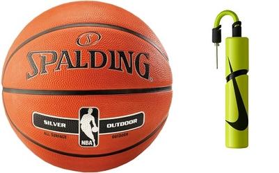 Piłka do koszykówki spalding nba silver outdoor na zewnątrz orliki + pompka nike essential