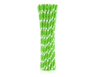 słomki papierowe zielone w białe groszki 24 szt.