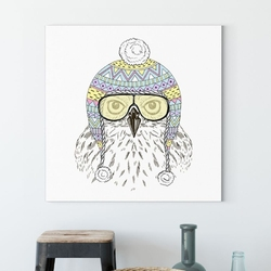 Obraz na płótnie - pilot owl , wymiary - 100cm x 100cm