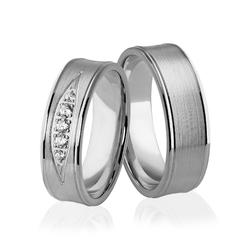Obrączki ślubne z białego złota niklowego z brylantami - au-932