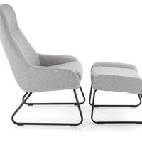 Fotel z podnóżkiem turfio szaryczarny nowoczesny