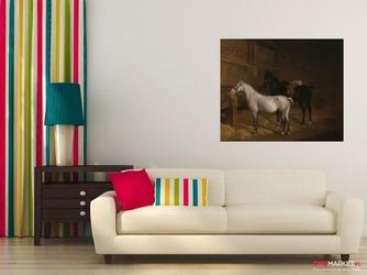 szary kucyk i czarny wierzchowiec w stajni - jacques-laurent agasse ; obraz - reprodukcja