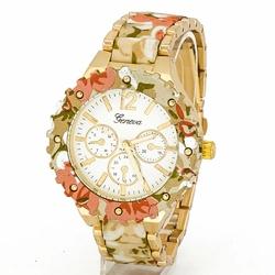 Zegarek BRANSOLETA kwiaty POMARAŃCZOWY damski - CORAL