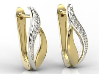 Kolczyki z żółtego i białego złota z diamentami bpk-17zb