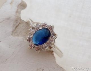 Fiona - srebrny pierścionek z szafirem i cyrkonie
