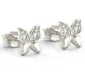 Kolczyki motylki z białego złota z cyrkoniami bpk-88b-c - białe