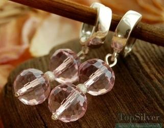 Disco ii - srebrne kolczyki z różowymi kryształami