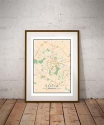 Sofia, bułgaria mapa kolorowa - plakat wymiar do wyboru: 50x70 cm