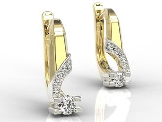 Kolczyki z żółtego i białego złota z diamentami jpk-66zb - żółte i białe  diament