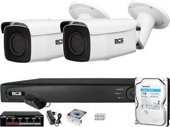Zestaw monitoringu bcs view rejestrator ip 2x kamera fullhd bcs-v-ti221ir5