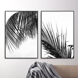 Zestaw dwóch plakatów - tropical shadow , wymiary - 20cm x 30cm 2 sztuki, kolor ramki - biały