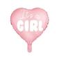 Balon foliowy serce - its a girl, 45 cm, jasny różowy