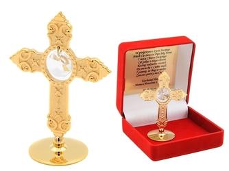 Pozłacany krzyż swarovski prezent chrzest dedykacja