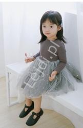 Szara sukienka dla dziewczynki z tiulową spódniczką tutu 078