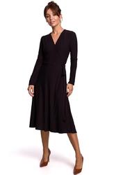 Czarna sukienka kopertowa z długim rękawem