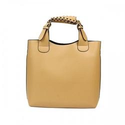 Duża skórzana torebka damska typu shopper beżowa
