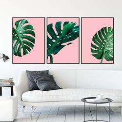 Zestaw trzech plakatów - monstera pink , wymiary - 20cm x 30cm 3 sztuki, kolor ramki - czarny