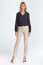 Beżowe klasyczne długie spodnie w kant