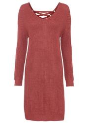 Sukienka dzianinowa ze sznurowaniem bonprix brązowy marsala