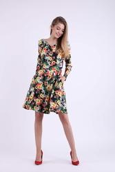 Rozkloszowana Kwiatowa Sukienka z Dekoltem w Kształcie Litery V