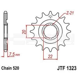 Zębatka przednia jt f1323-14 sc, rac 14z, rozmiar520 2201248 honda cr 125