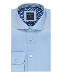 Elegancka błękitna koszula profuomo slim fit z kontrasowym wykończeniem kołnierzyka 43