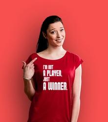 Im not a player t-shirt damski czerwony xxl