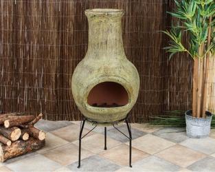 Kominek ogrodowy, meksykański piecyk gliniany, 83 cm na stojaku biopeak