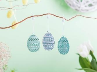 Zawieszki  ozdoby wielkanocne jajka metalowe ażurowe altom design 3 sztuki dekoracja ii