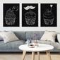 Muffins design black - komplet plakatów , wymiary - 20cm x 30cm 3 sztuki, kolor ramki - czarny