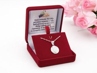 Srebrny 925 okrągły medalik matka boska madonna grawer