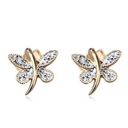 Staviori kolczyki motyle 2 diamenty, szlif achtkant, masa 0,006 ct., barwa h, czystość i1. żółte, białe złoto 0,585.