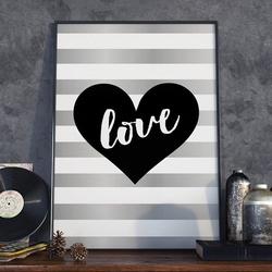 Heart love art - plakat w ramie , wymiary - 60cm x 90cm, ramka - czarna