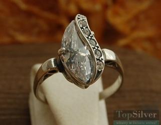Insbruck - srebrny pierścionek z kryształkami swarovski