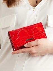 Portfel damski lakierowany czerwony cavaldi pn23 - czerwony