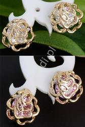Kolczyki róże złote z kryształkami swarovski