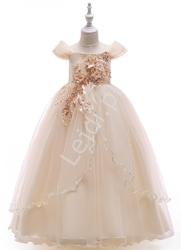 Szampańska sukienka dla dziewczynki z kwiatowym haftem i cekinami 213