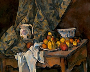 Still life with apples and peaches, paul cézanne - plakat