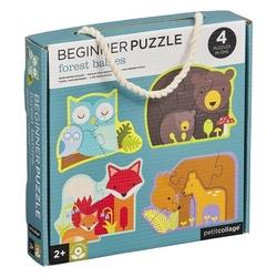 Puzzle pierwsze petit collage  - leśne zwierzątka 2+