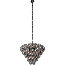 Lampa do salonu z ciemnych bąbli, okrągła 67 cm vitaluce ve5343-15+5+1