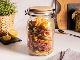 Słoik  pojemnik szklany na produkty sypkie altom design 1500 ml z pokrywą i klipsem