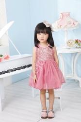 Różowa tiulowa sukienka z cekinową górą dla dziewczynek