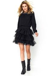 Czarna sukienka z tiulowymi falbankami