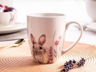 Kubek do kawy i herbaty porcelanowy altom design hello spring 300 ml, dekoracja zajączek