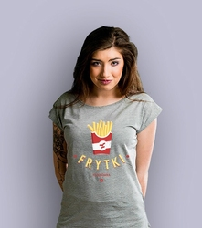 Frytki to surówka t-shirt damski jasny melanż xxl