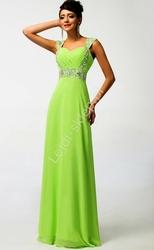Limonkowa długa sukienka, kreacje wieczorowe