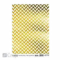 Metaliczny papier ryżowy Cadence 30x41 cm - złoty wzór - złoty wzór