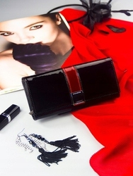 Skórzany portfel damski lakierowany z kryształkami czarny lorenti - czarny || czarny z czerwonym