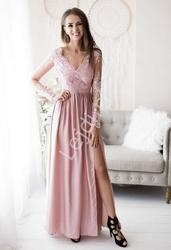 Suknia na wesele z delikatnym rękawem - wieczorowa luna cukierkowy róż